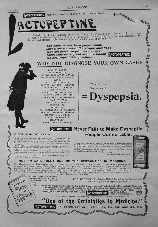 Lactopeptine. 1901.