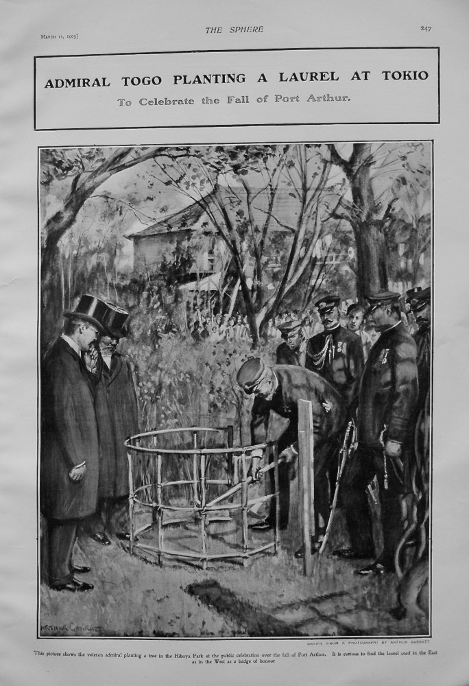 Admiral Togo Planting a Laurel at Tokio to Celebrate the Fall of Port Arthur. 1905
