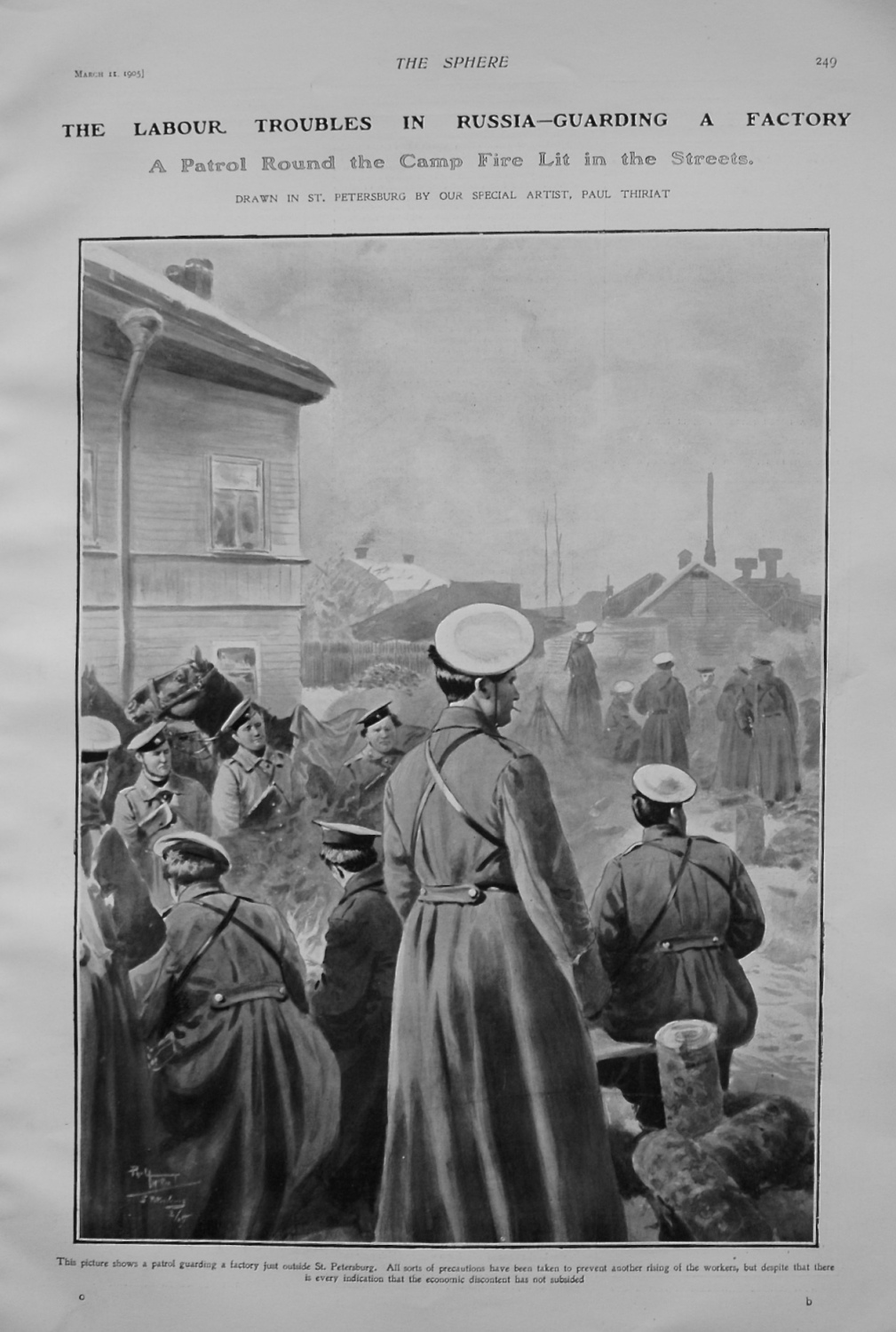 The Labour Troubles in Russia - Guarding a Factory. 1905.