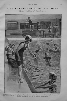 """The Companionship of the Bath"" - Mixed Bathing at Kennington. 1905"