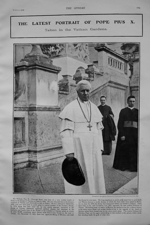 Latest Portrait of Pope Pius X. 1905