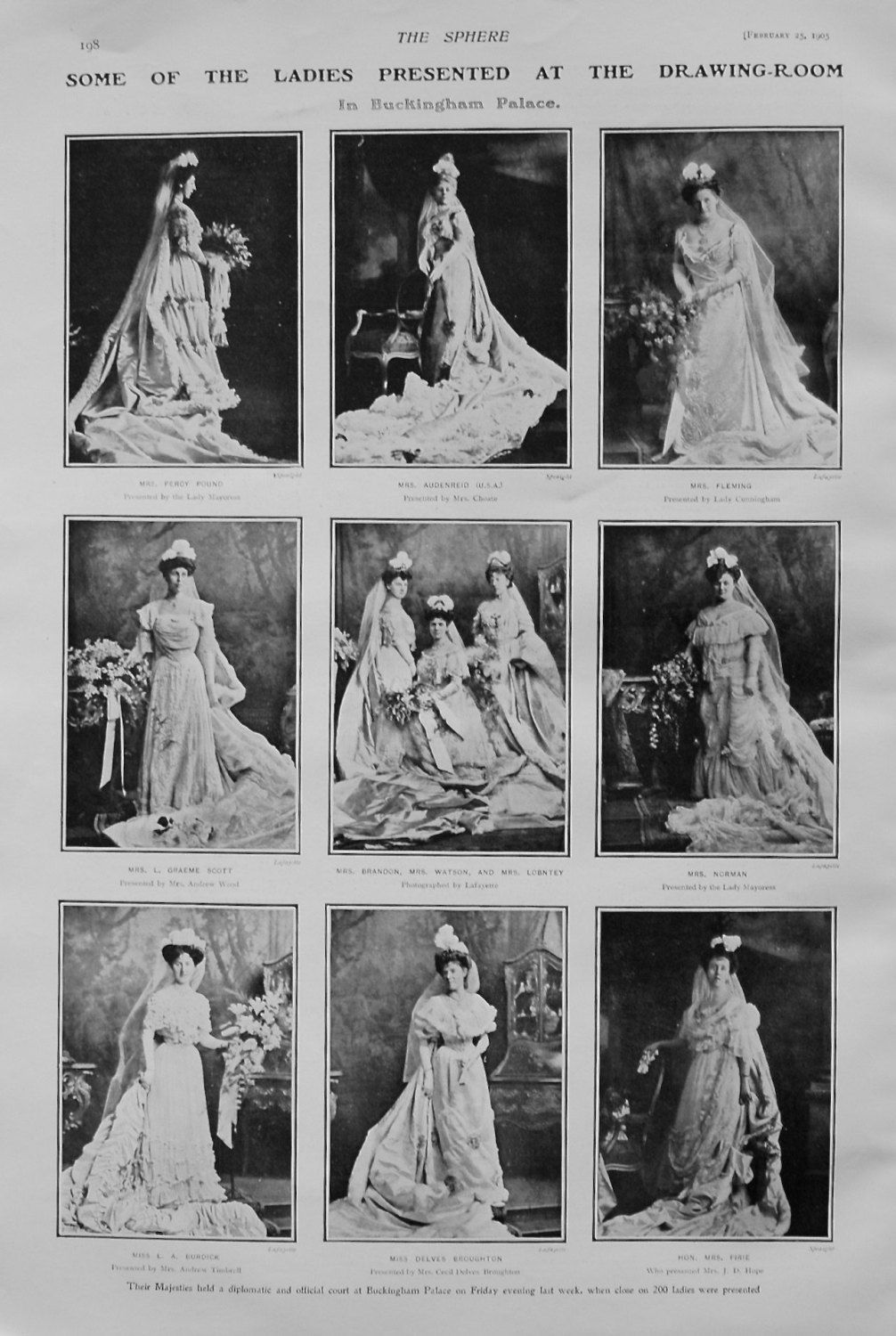 Some of the Ladies Presented at the Drawing-Room in Buckingham Palace. 1905