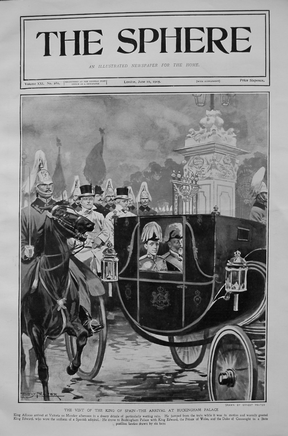 Visit of the King of Spain - Arrival at Buckingham Palace. 1905.