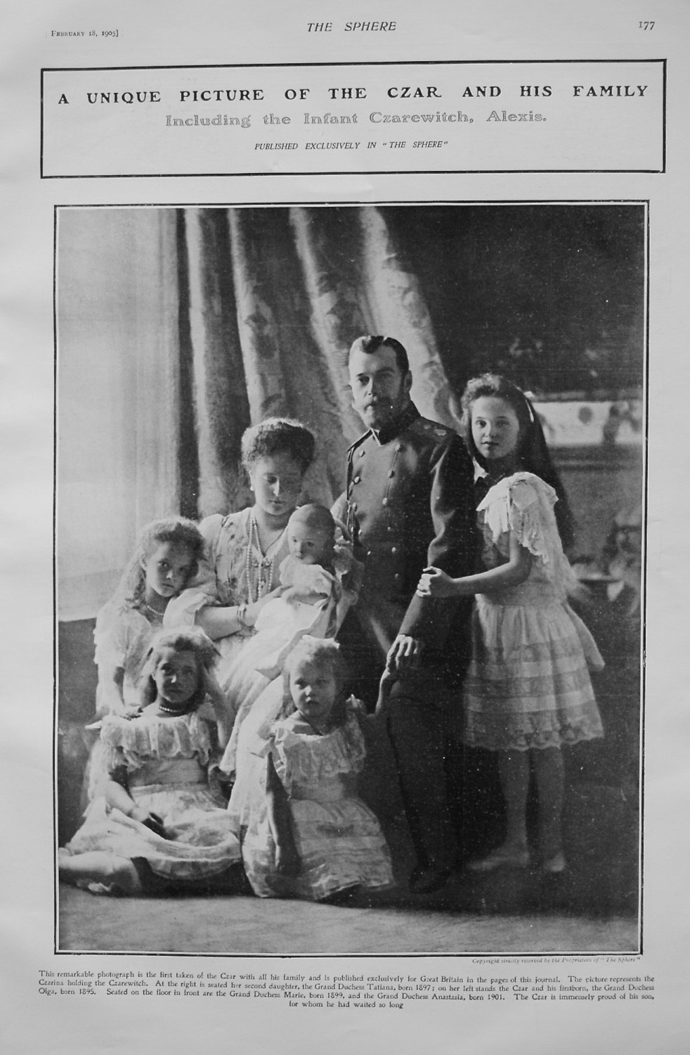 A Unique Picture of the Czar and His Family including the Infant Czarevitch