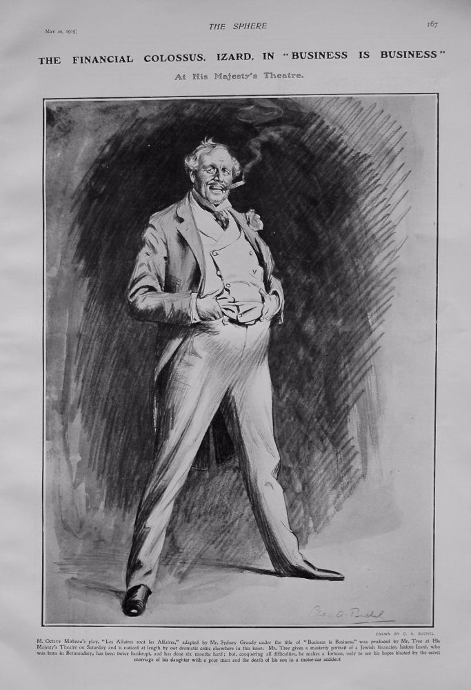 """The Financial Colossus, Izard, in """"Business is Business"""" at His Majesty's Theatre. 1905"""