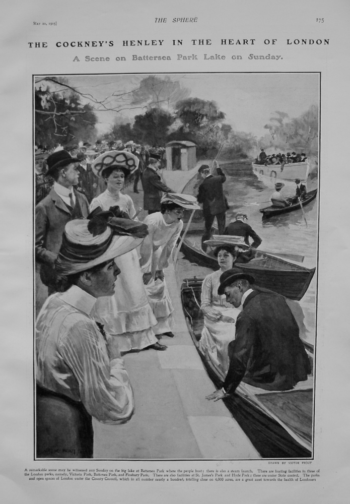 The Cockney's Henley in the Heart of London - A Scene on Battersea Park Lake on Sunday. 1905.