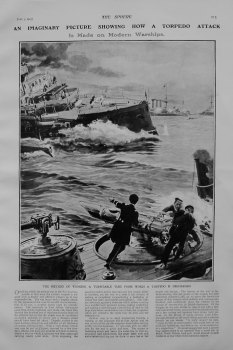 An Imaginary Picture showing How a Torpedo Attack is made on Modern Warships. 1905.