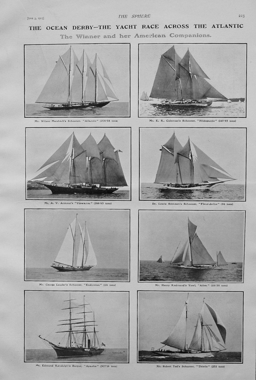 The Ocean Derby - The Yacht Race Across the Atlantic. 1905.