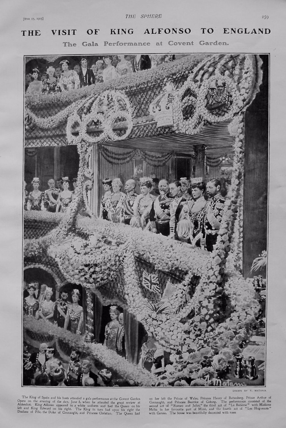 Visit of King Alfonso to England. Gala Performance at Covent Garden. 1905