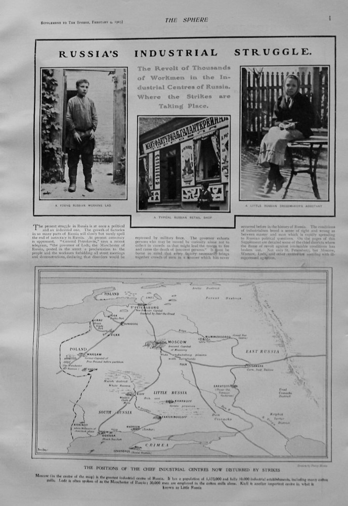 The Sphere, February 4th, 1905. (Supplement) : Russia's Industrial Struggle. 1905.