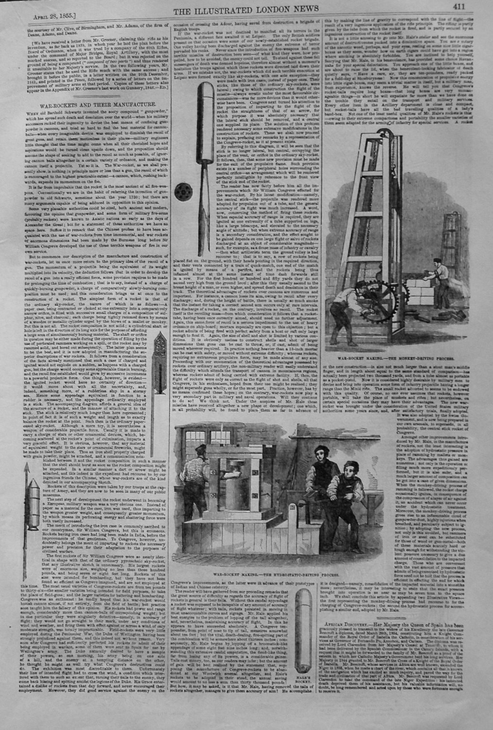 War-Rockets and their Manufacture, and The Minie Rifle. 1855