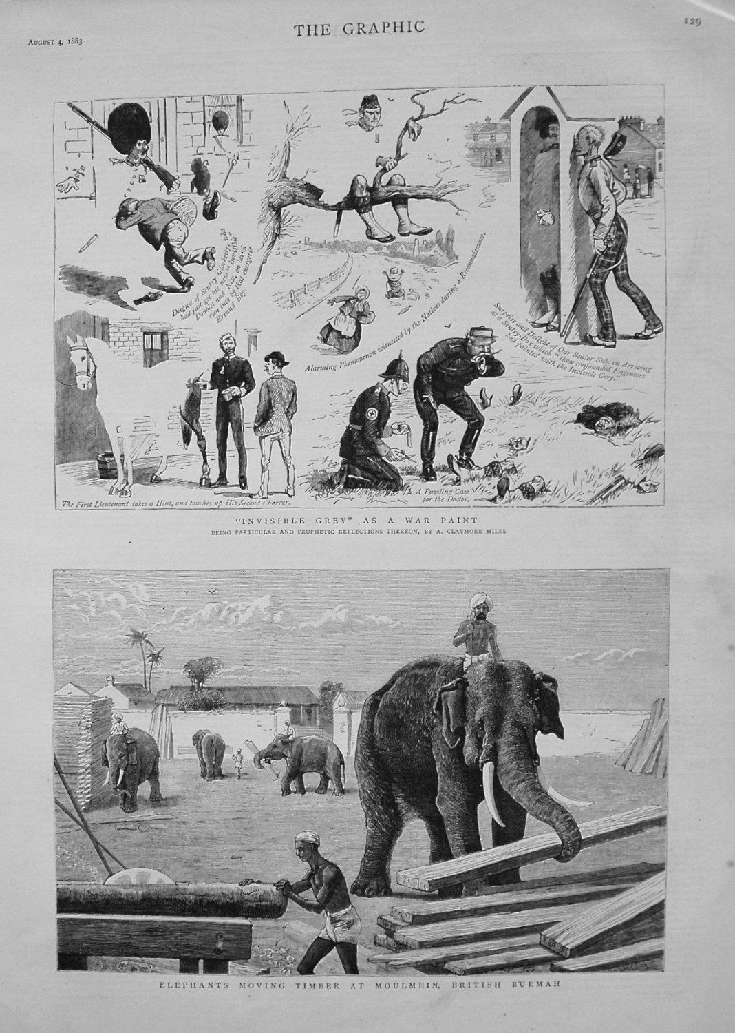 Elephants Moving Timber at Moulmein, British Burmah. 1883.