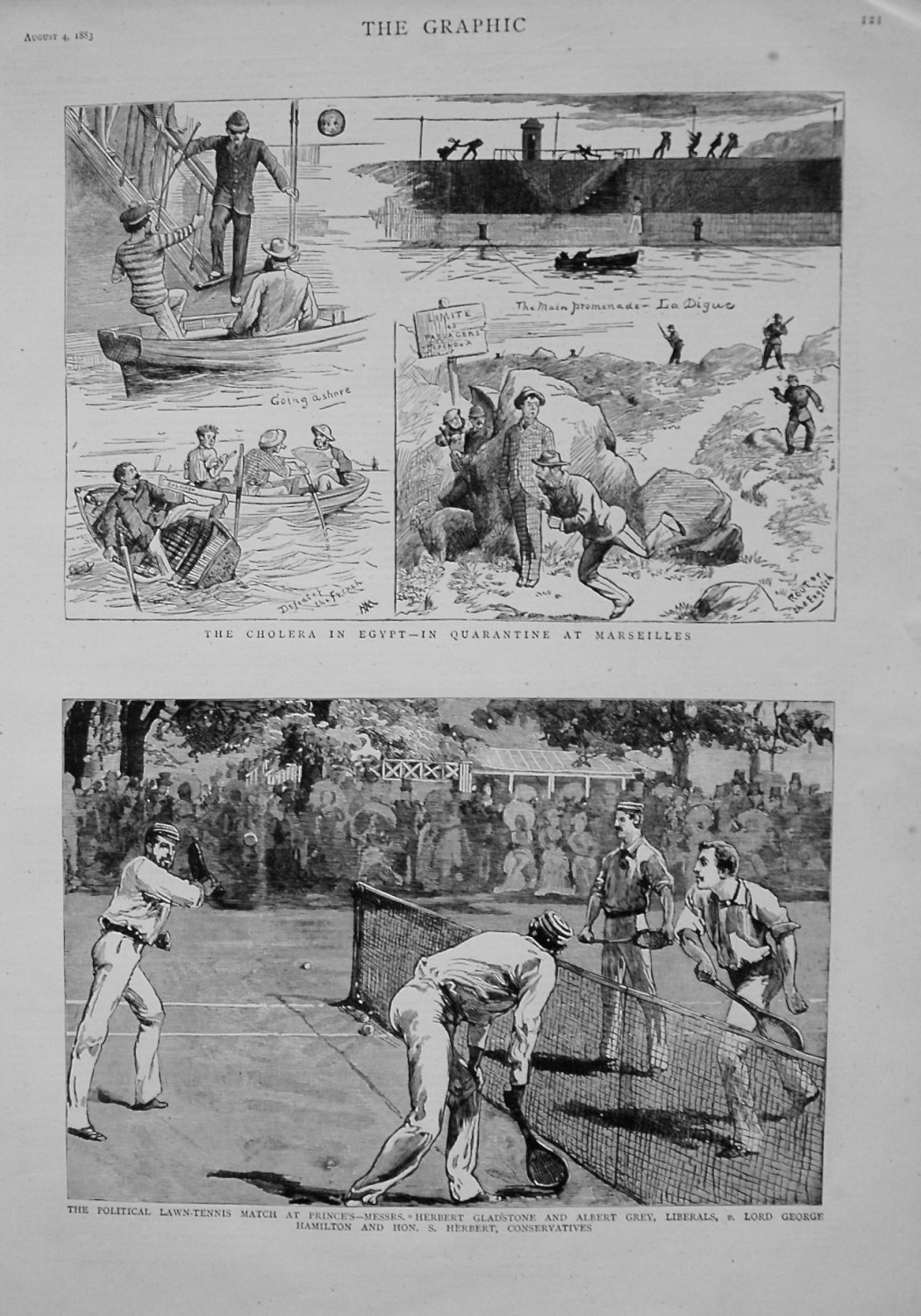 Political Lawn Tennis Match at Prince's - Messrs. Herbert Gladstone and Alb