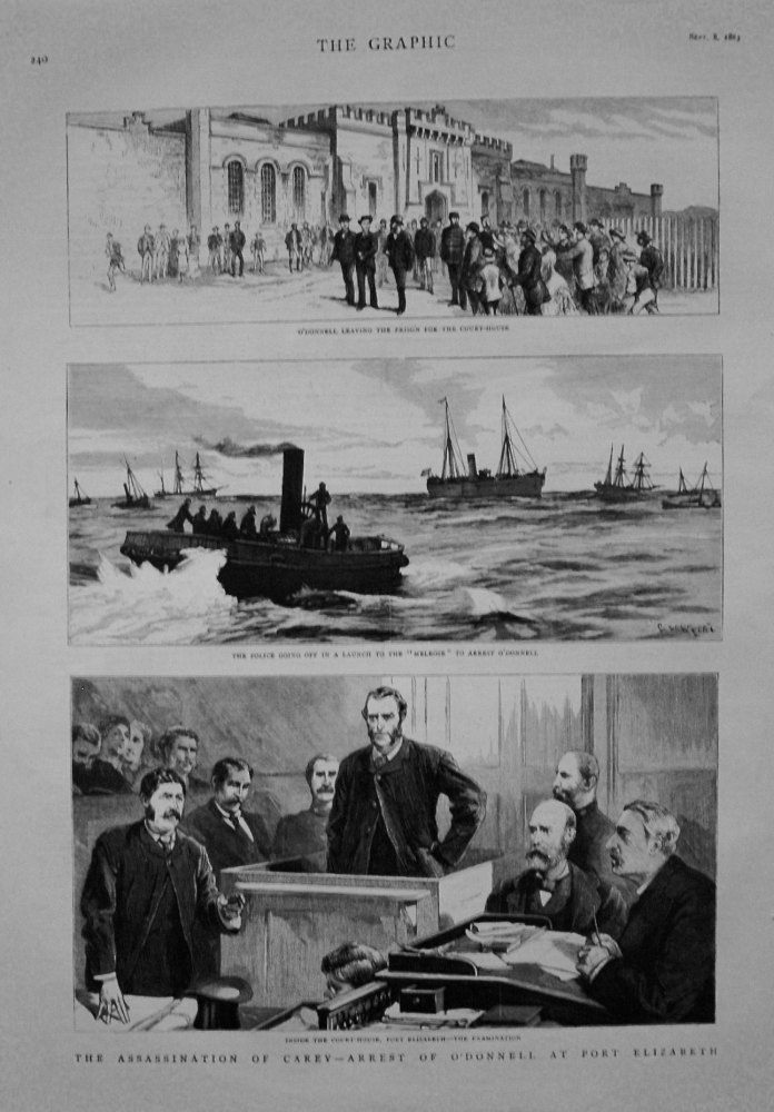 Assassination of Carey - Arrest of O'Donnell at Port Elizabeth. 1883