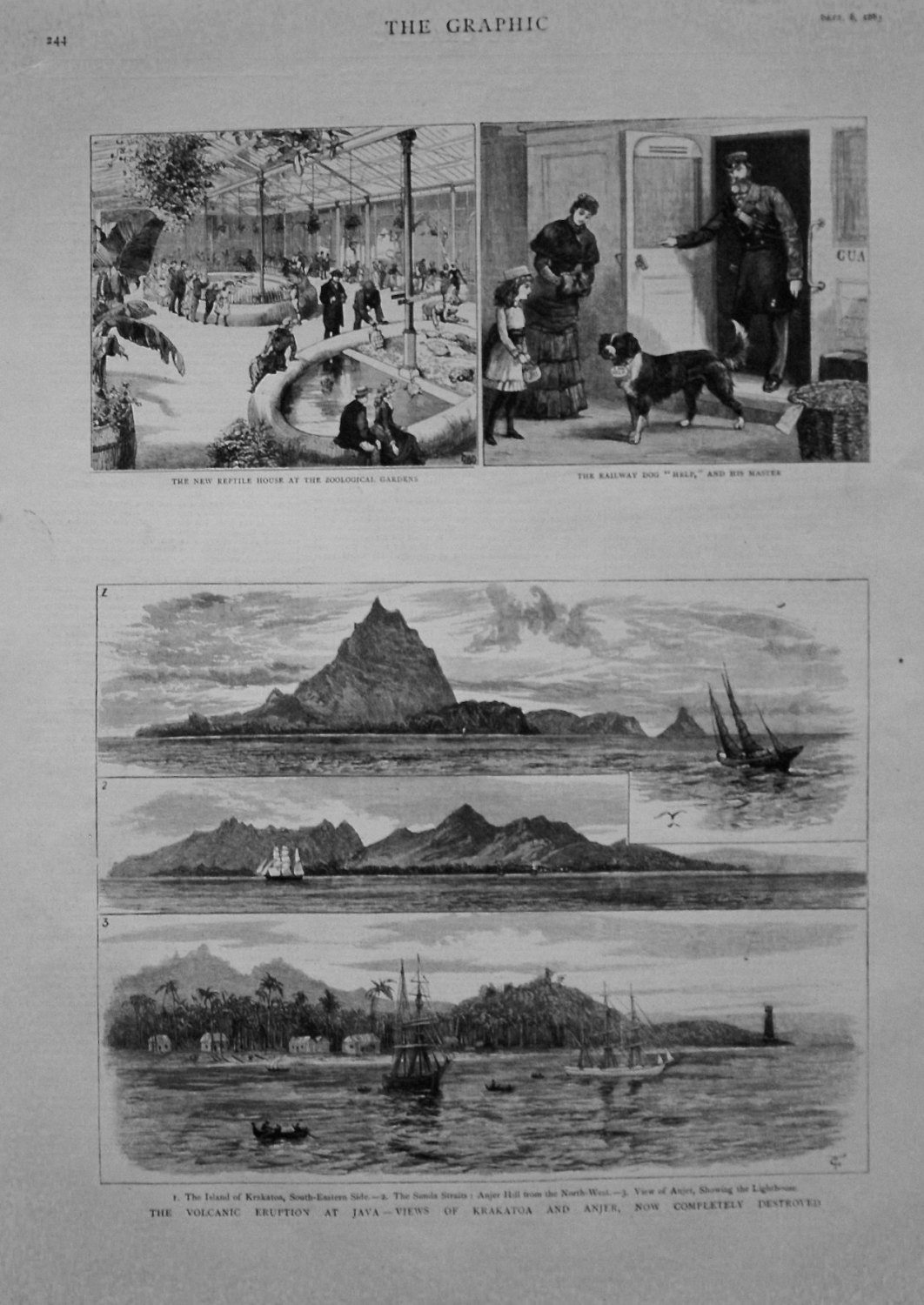 Volcanic Eruption at Java - Views of Krakatoa and Anger, now Completely Des