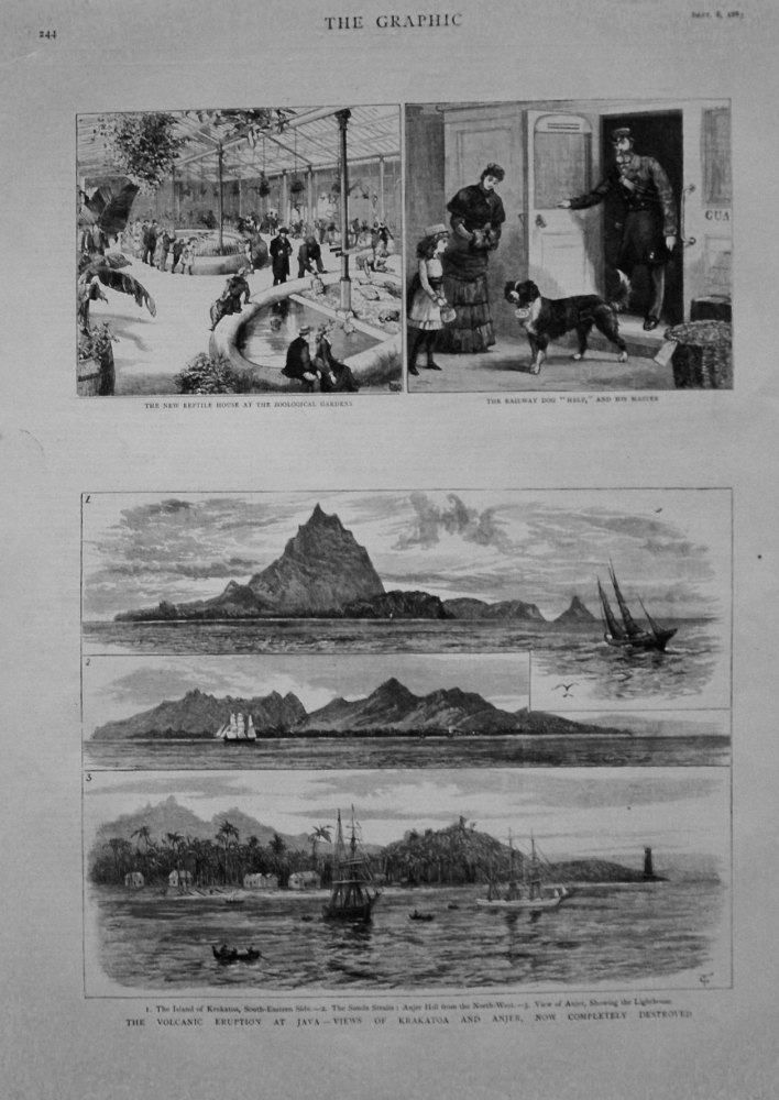 Volcanic Eruption at Java - Views of Krakatoa and Anger, now Completely Destroyed. 1883