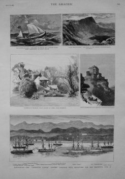 """Madagascar - The """"Taymouth Castle"""" Leaving Tamatave with Despatches for the Mauritius. June 28. 1883"""