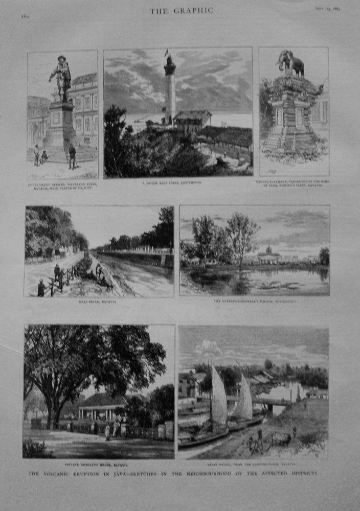 Volcanic Eruption in Java - Sketches in the Neighbourhood of the Affected Districts. 1883