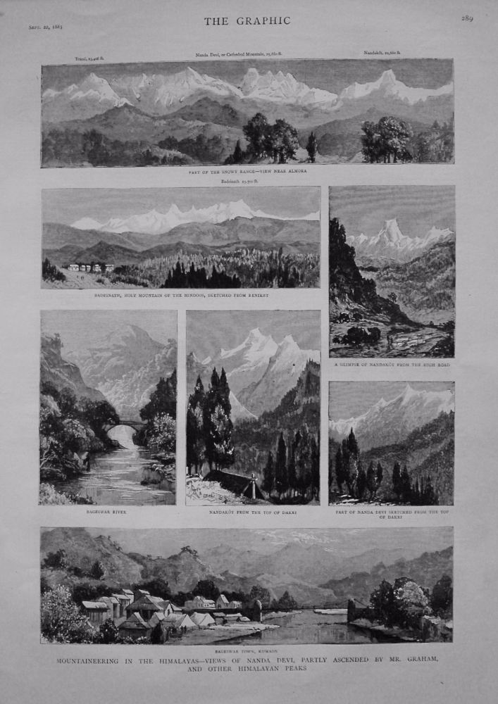 Mountaineering in the Himalayas - Views of Nanda Devi, Partly Ascended by Mr. Graham, and other Himalayan Peaks. 1883.