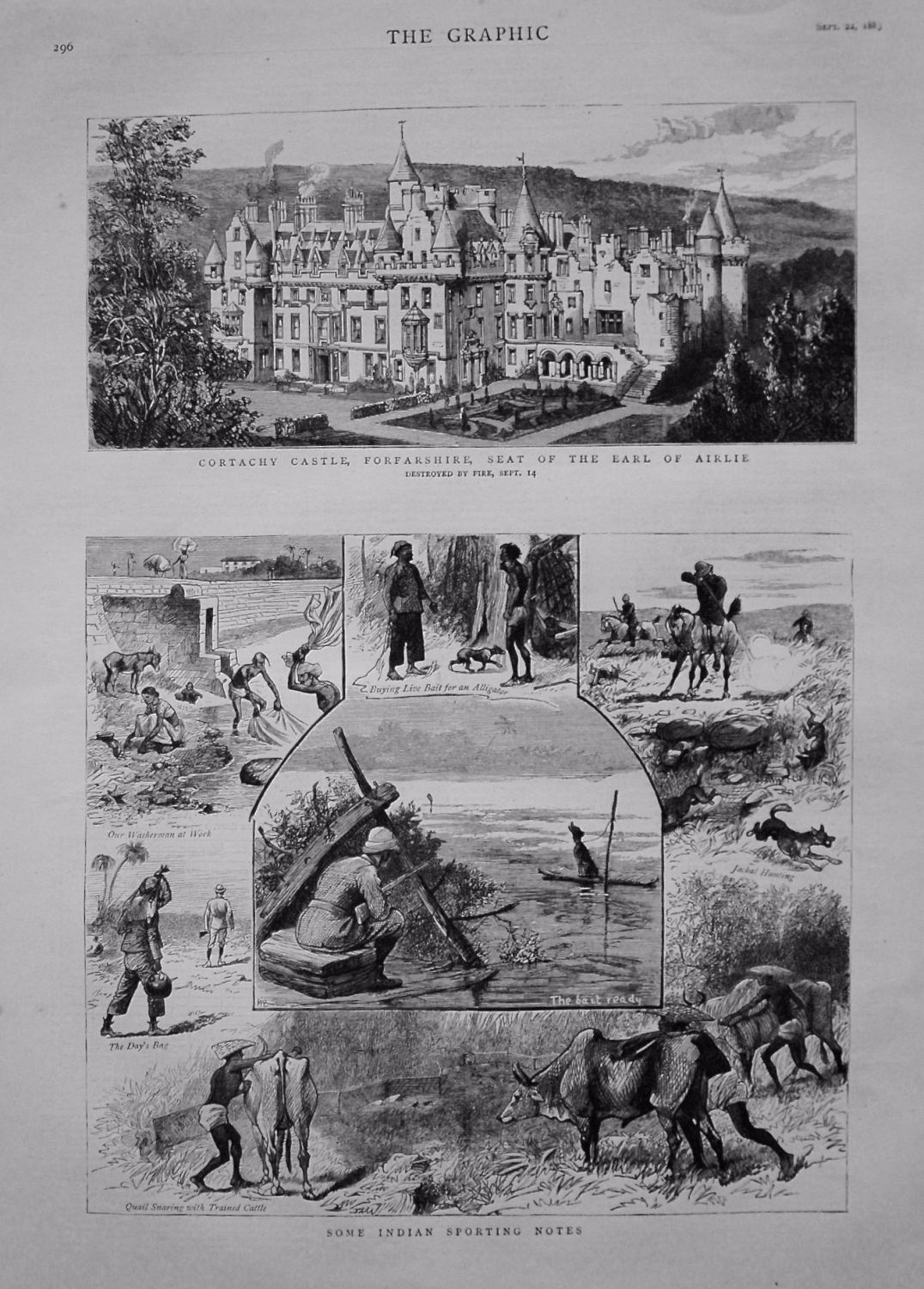 Cortachy Castle, Forfarshire, Seat of the Earl of Airlie. Destroyed by Fire