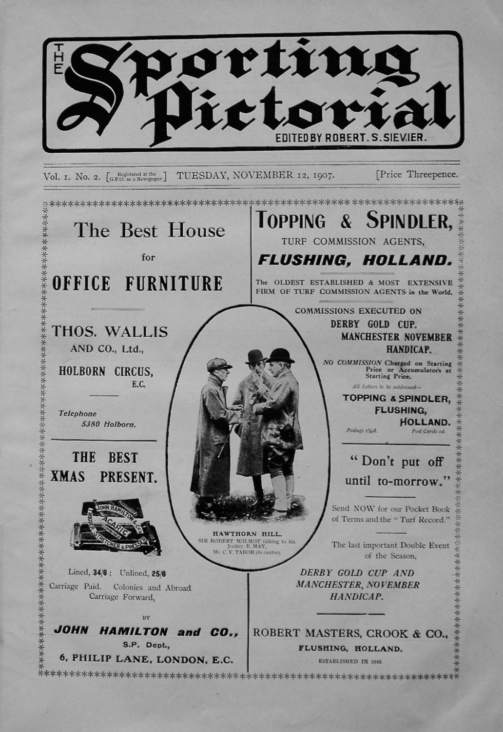 Sporting Pictorial. No.2. November 12th 1907