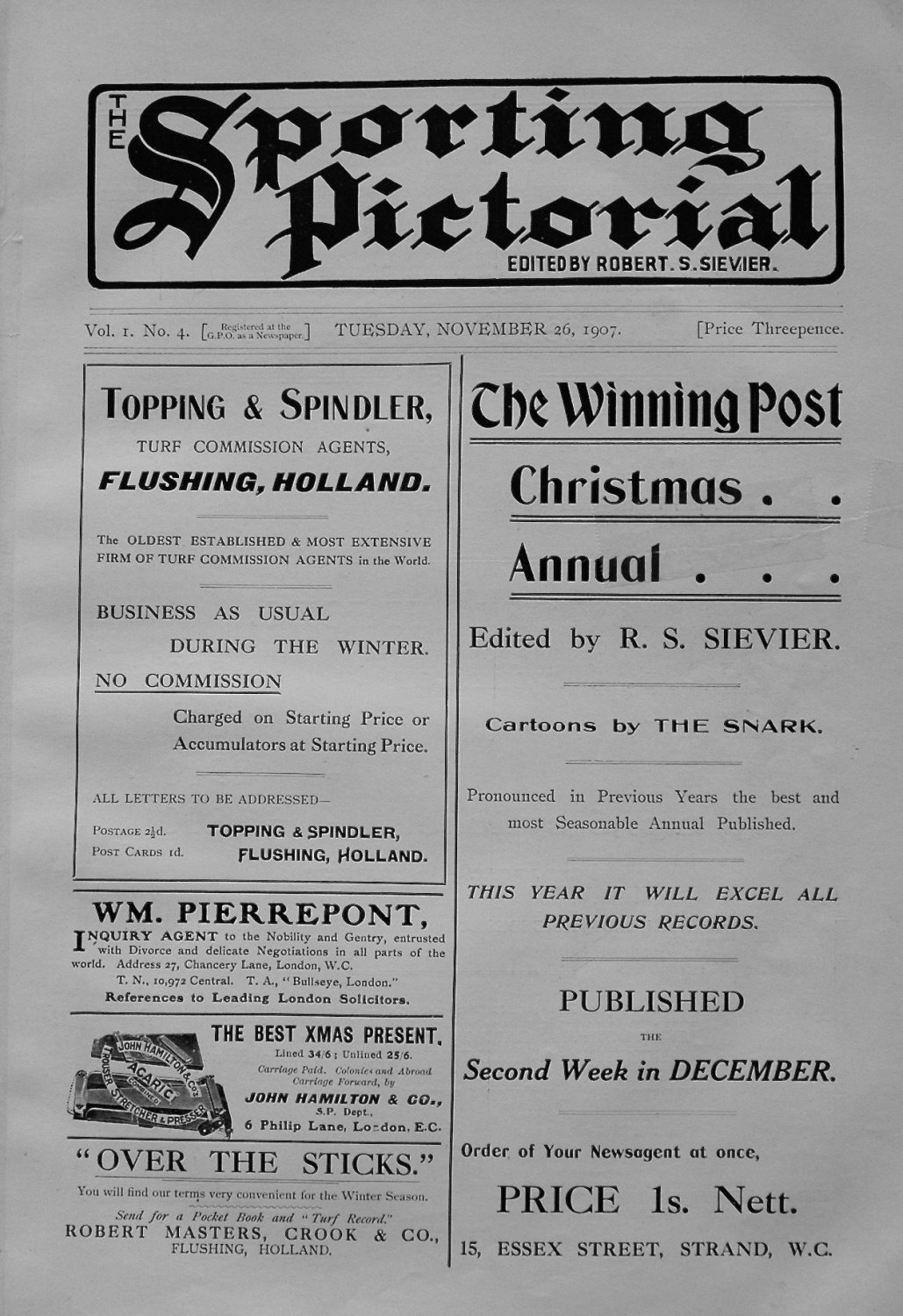 Sporting Pictorial. No. 4. November 26th 1907.