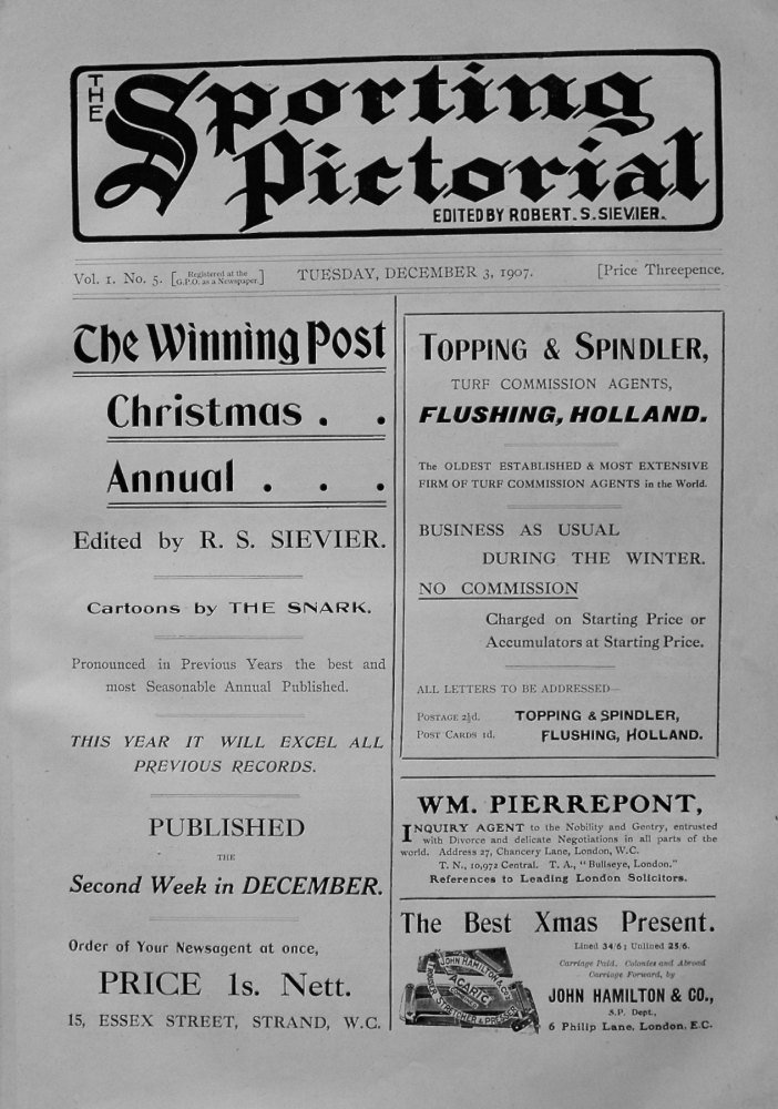 Sporting Pictorial. No. 5. December 3rd 1907.
