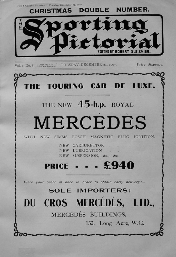 Sporting Pictorial. No. 8. December 24th 1907.