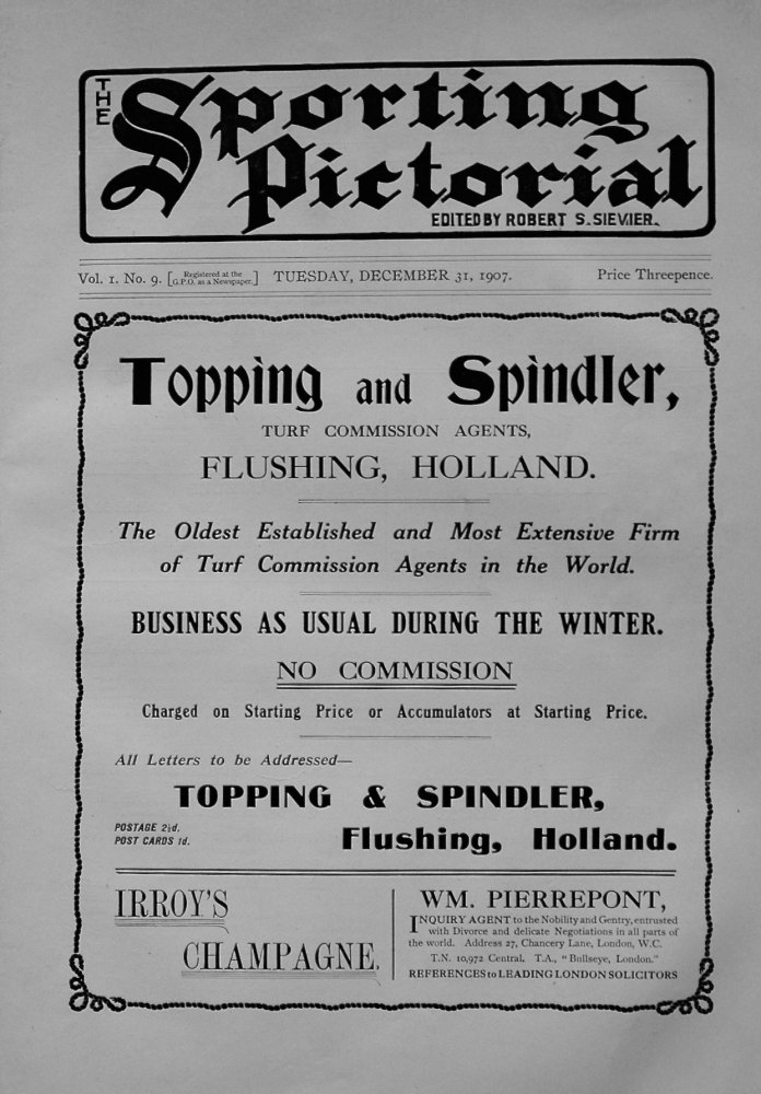 Sporting Pictorial. No. 9. December 31st 1907.