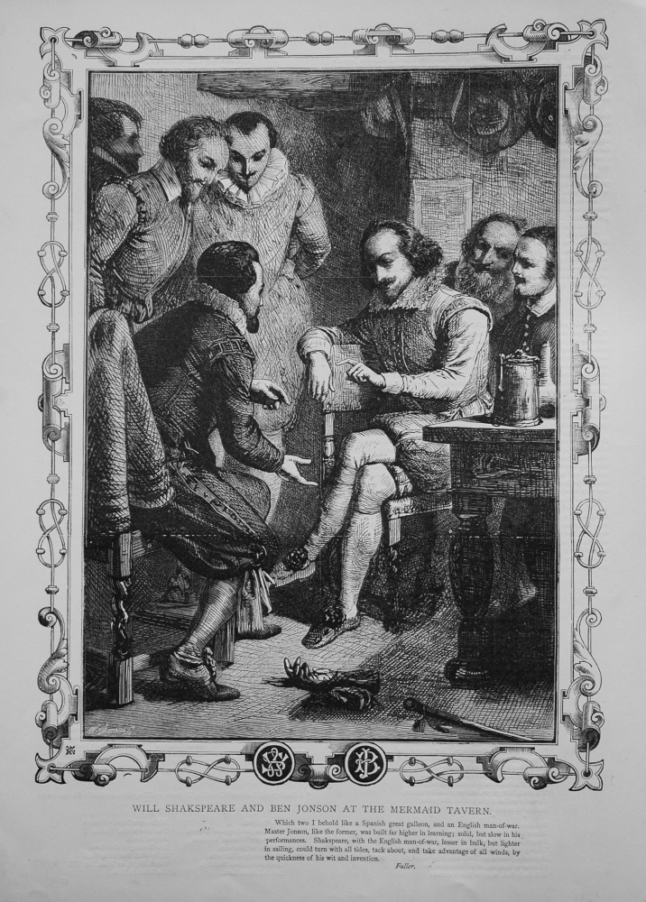 Will Shakespeare and Ben Jonson at the Mermaid Tavern. (Shakespeare Memorial).