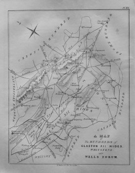 Map of the Hundreds of Glaston XII Hides, Whitstone, and Wells Forum. 1839.