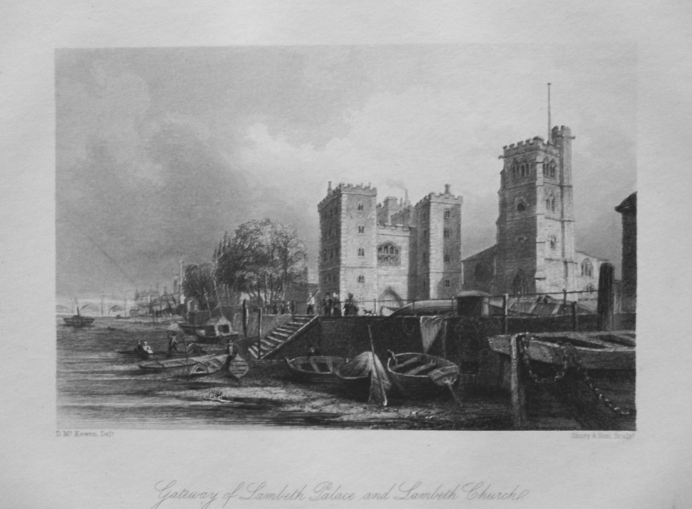 Gateway of Lambeth Palace and Lambeth Church. 1850.