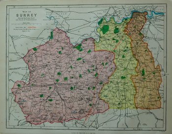 Map of Surrey showing the Roman Road and Places of Interest. 1878c.