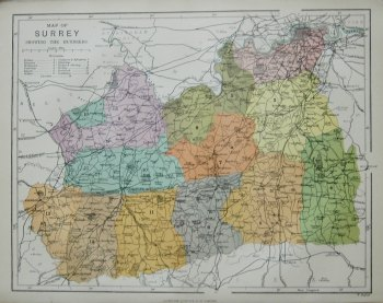 Map of Surrey showing the Hundreds.