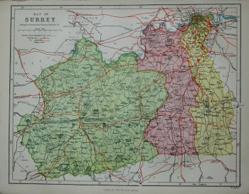 Map of Surrey, showing the Parliamentary Divisions, Railroads & c.