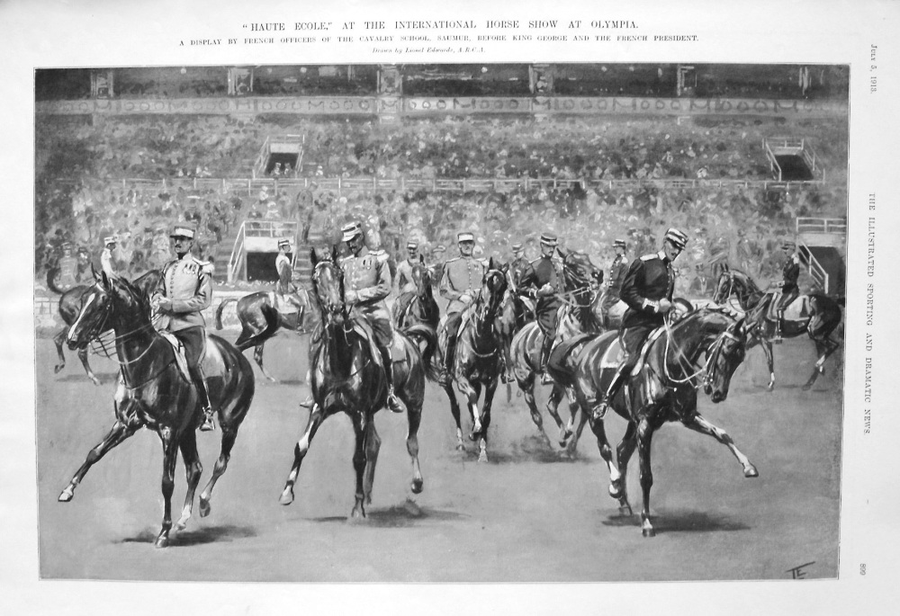 """""""Haute Ecole,"""" at the International Horse Show at Olympia. 1913."""