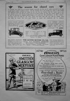 Austin Motor Co. Smith's Glasgow Mixture (Tobacco). Marshall & Rose Pianos. 1913.