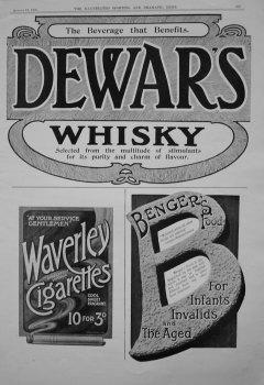 Dewar's Whisky. Waverley Cigarettes. Banger's Food. 1905.