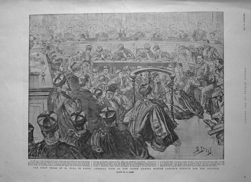 First Trial of M. Zola in Paris : General View of the Court during Maitre Labori's Speech for the Defence.