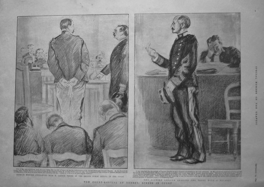 Court-Martial at Rennes : Scenes in Court. 1899 (Dreyfus Case)