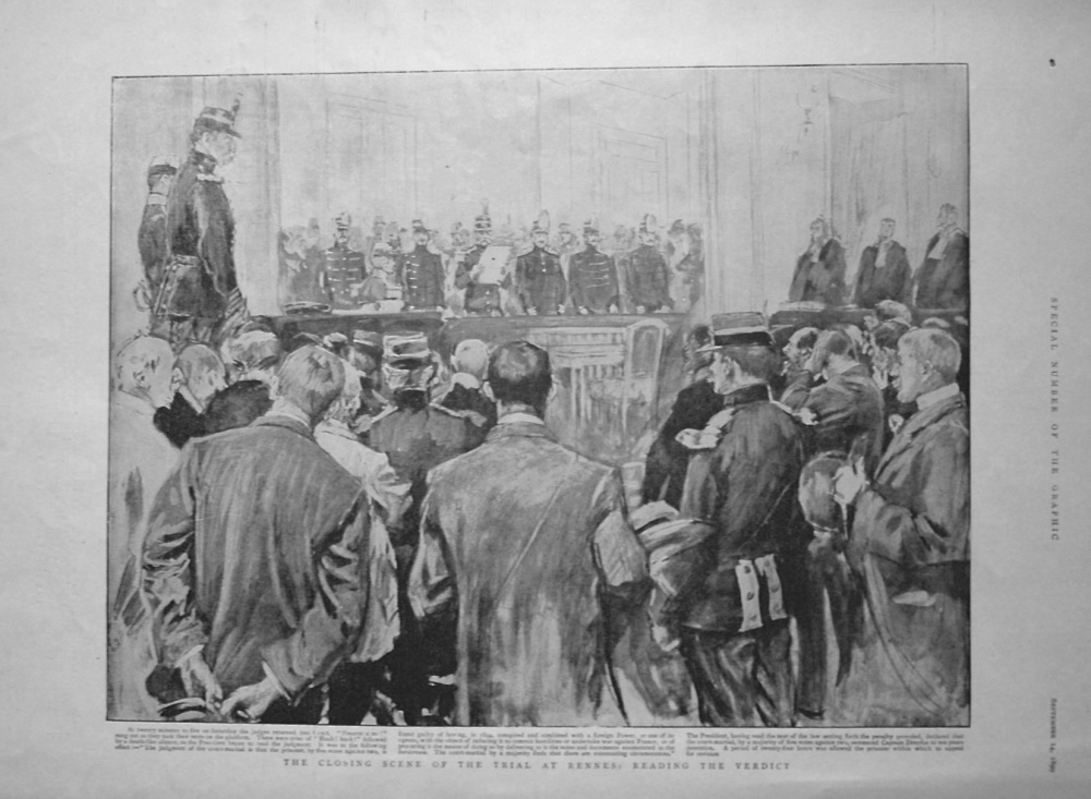 Closing Scene of the Trial at Rennes : Reading the Verdict. 1899