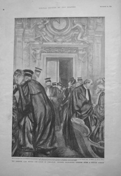 Dreyfus Case before the Court of Cassation : Members Exchanging Opinions after a Private Session. 1899