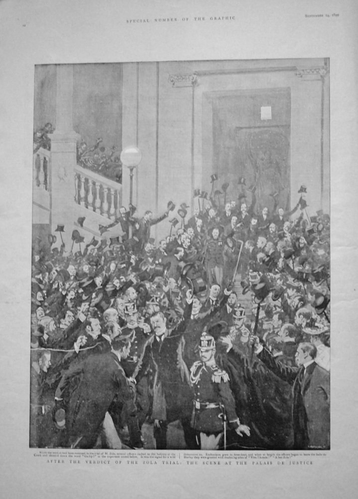 After the Verdict of the Zola Trial : The Scene at the Palais De Justice. 1899
