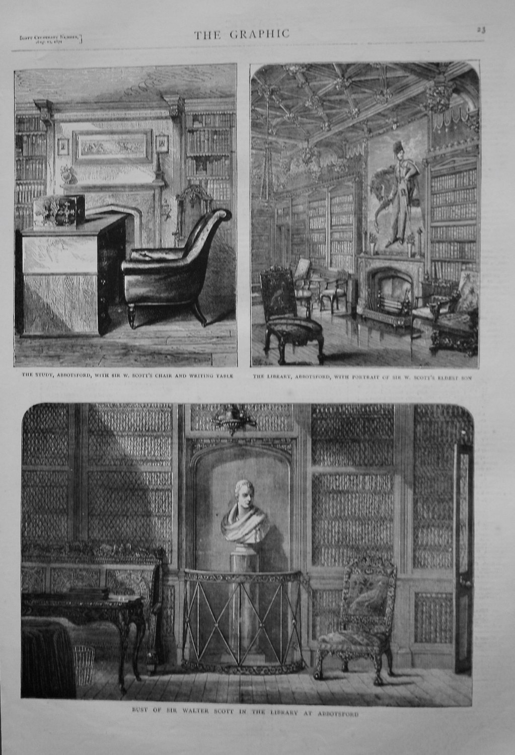 Bust of Sir Walter Scott in the Library at Abbotsford. 1871.