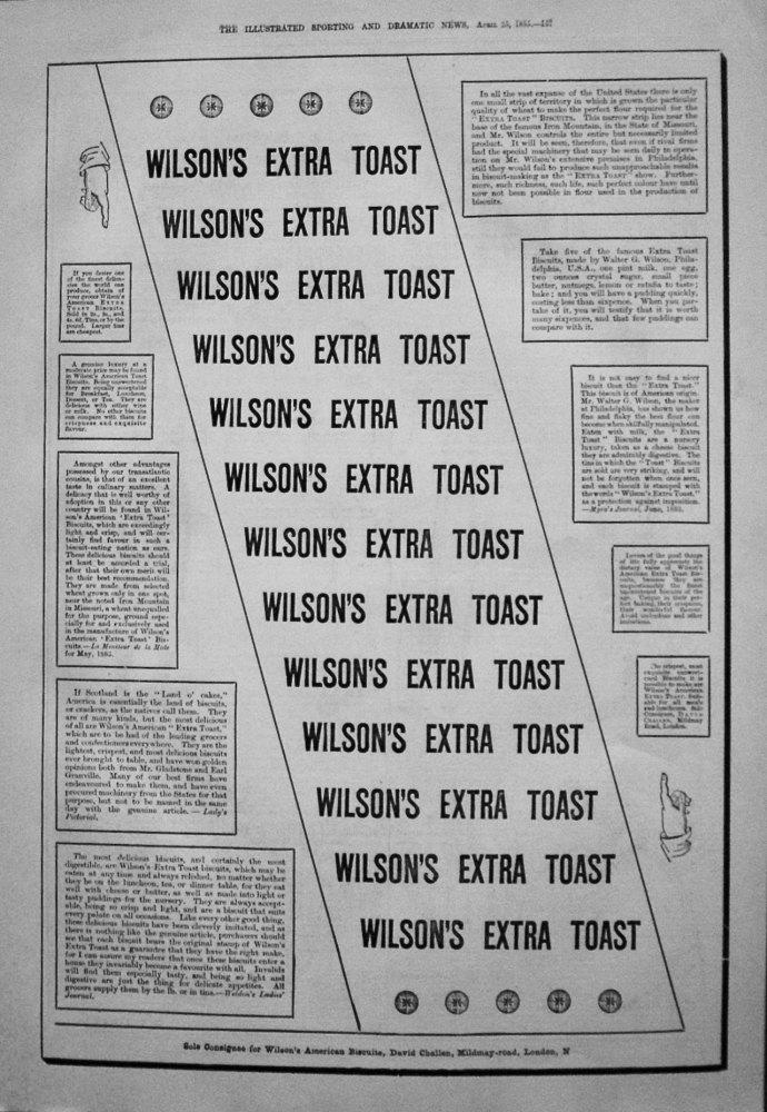 Wilson's American Extra Toast Biscuits. 1885