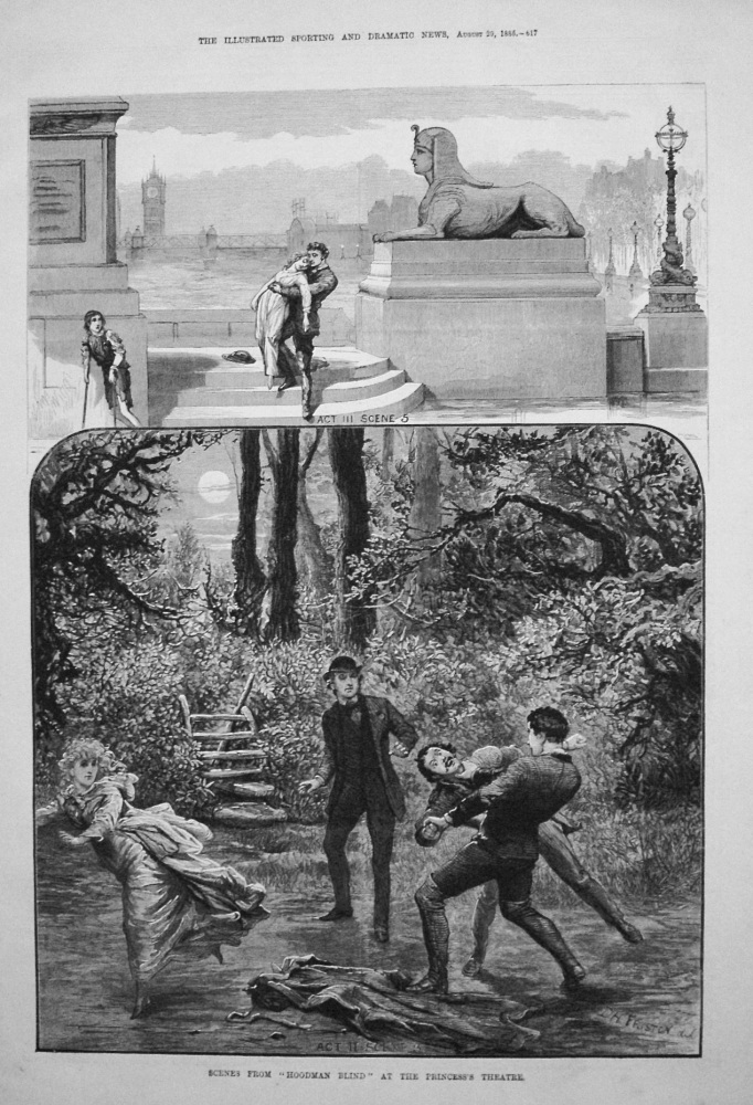 "Scenes from ""Hoodman Blind"" at the Princess's Theatre. 1885"