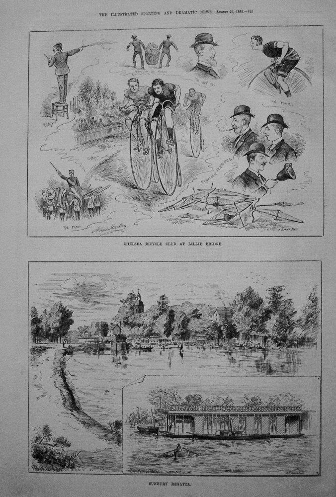 Chelsea Bicycle Club at Lillie Bridge. Sunbury Regatta. 1885