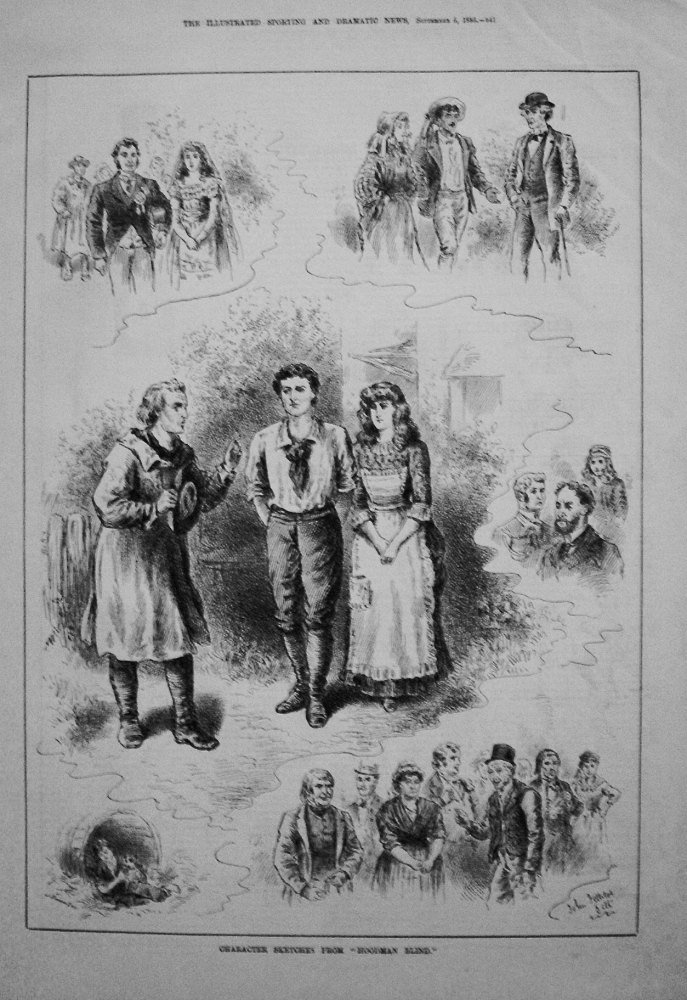 "Character Sketches from ""Hoodman Blind."" 1885. (Princess's Theatre)."
