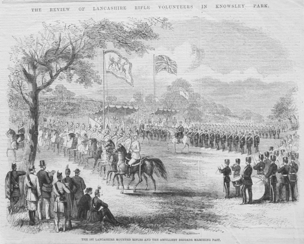 1st. Lancashire Mounted Rifles and the Artillery Brigade Marching Past. 1860