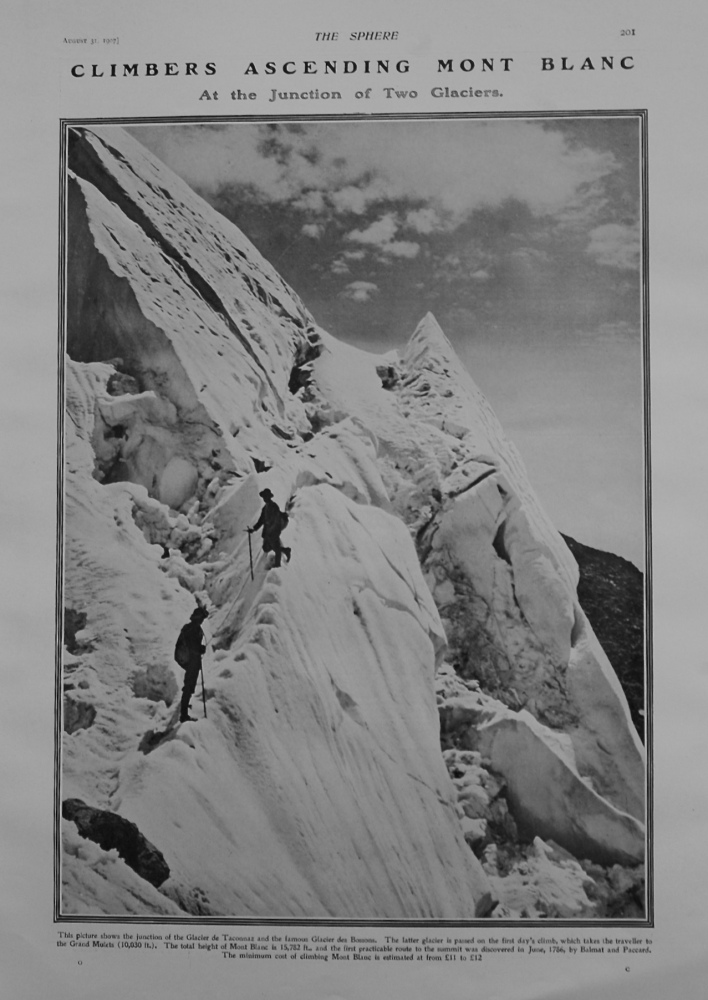 Climbers Ascending Mont Blanc at the junction of Two Glaciers. 1907.